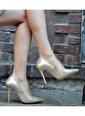Topukla Hakiki Deri Ayakkabı Altın